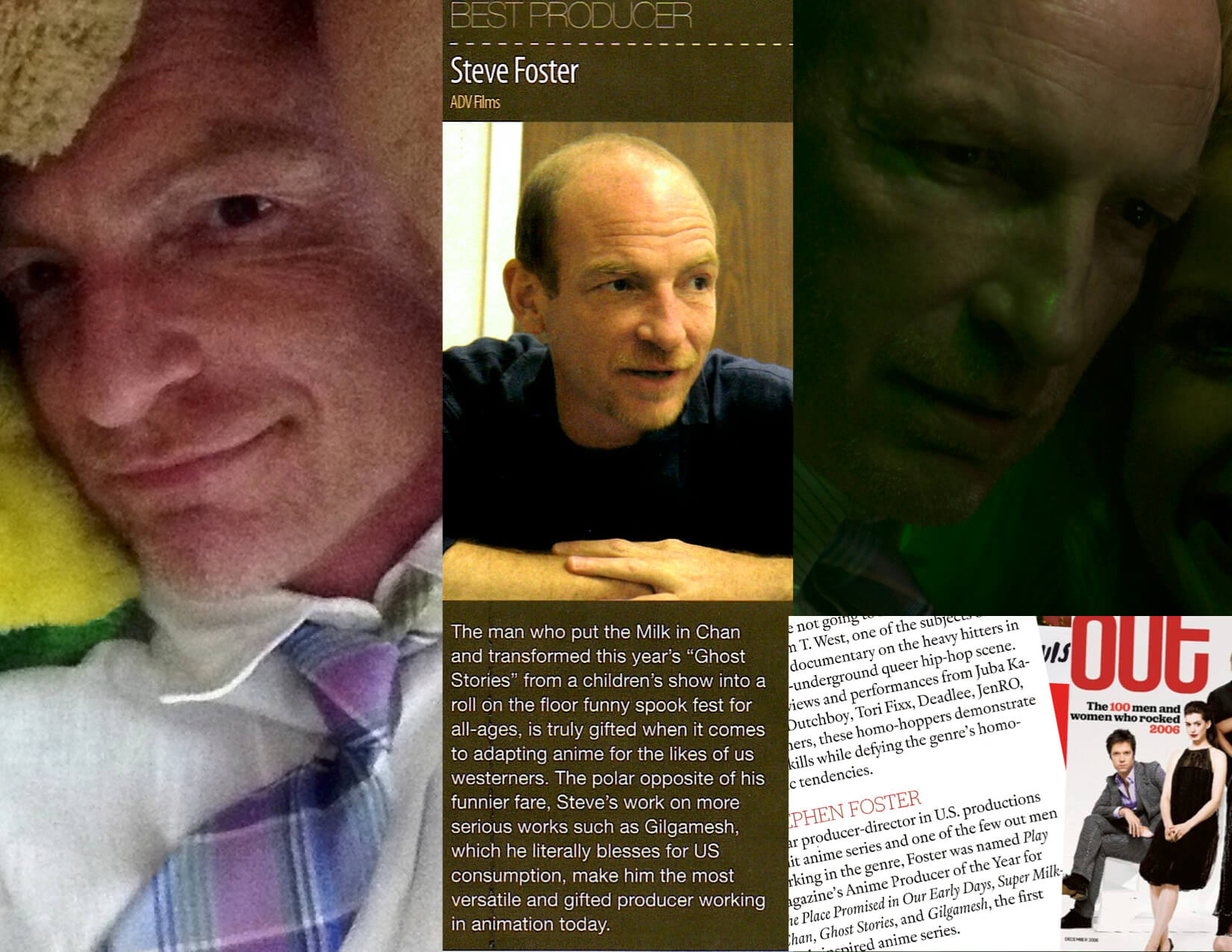 Grid of Best Producer of The Year Ste7en Foster in a tie, seated at a table, in the recording booth, and in Out Magazine