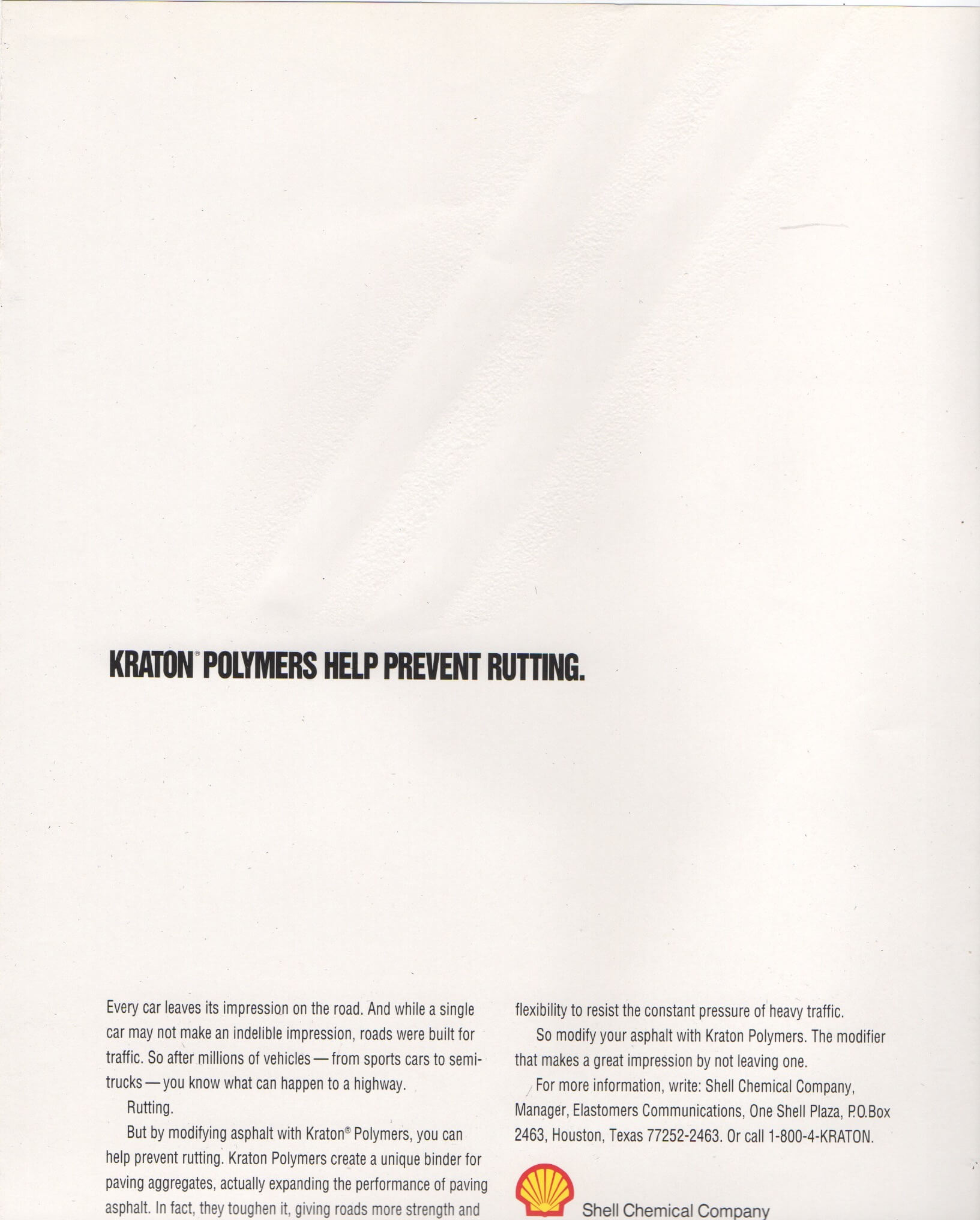An all-white polymer ad where the paper mimics the rutting of asphalt, having actual grooves you can feel on the page