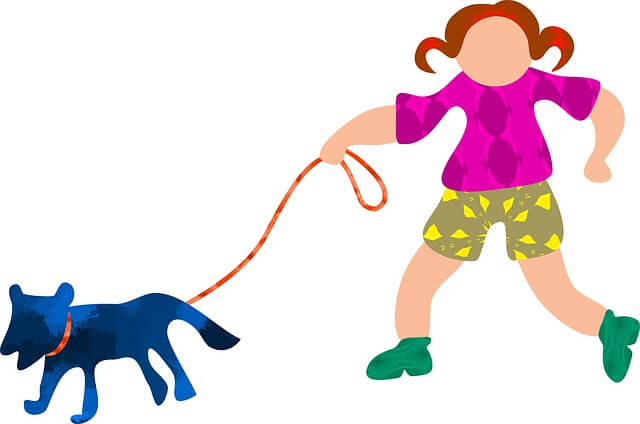 Cartoon girl walking blue dog