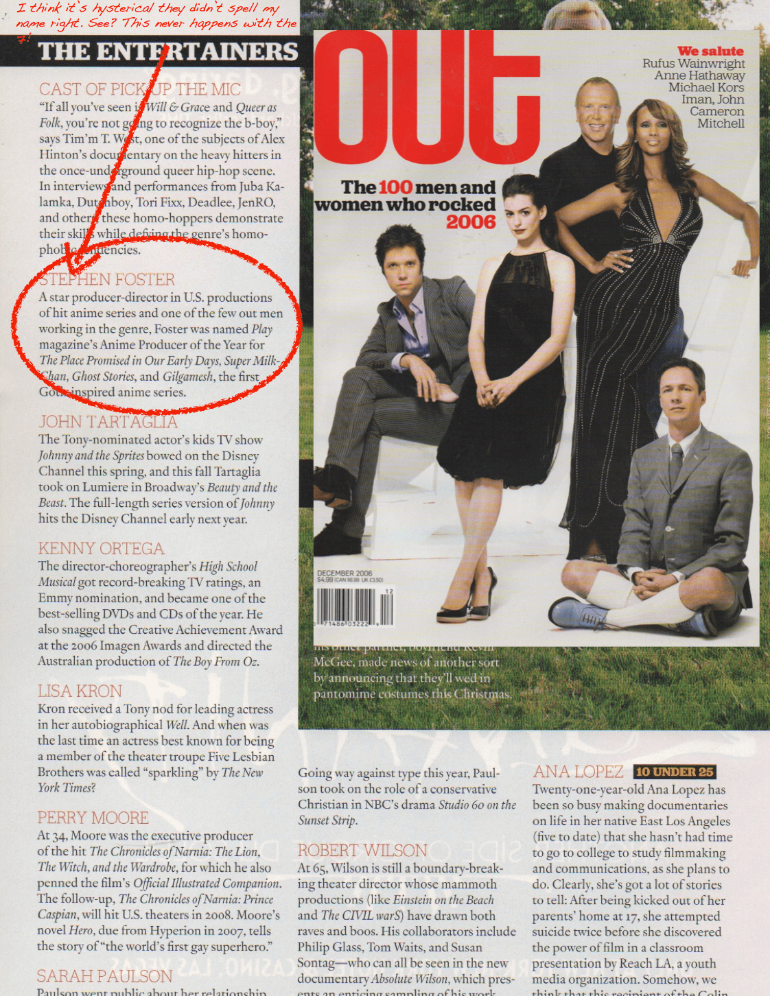 Ste7en Fosters writeup in Out Magazines Hot 100 List