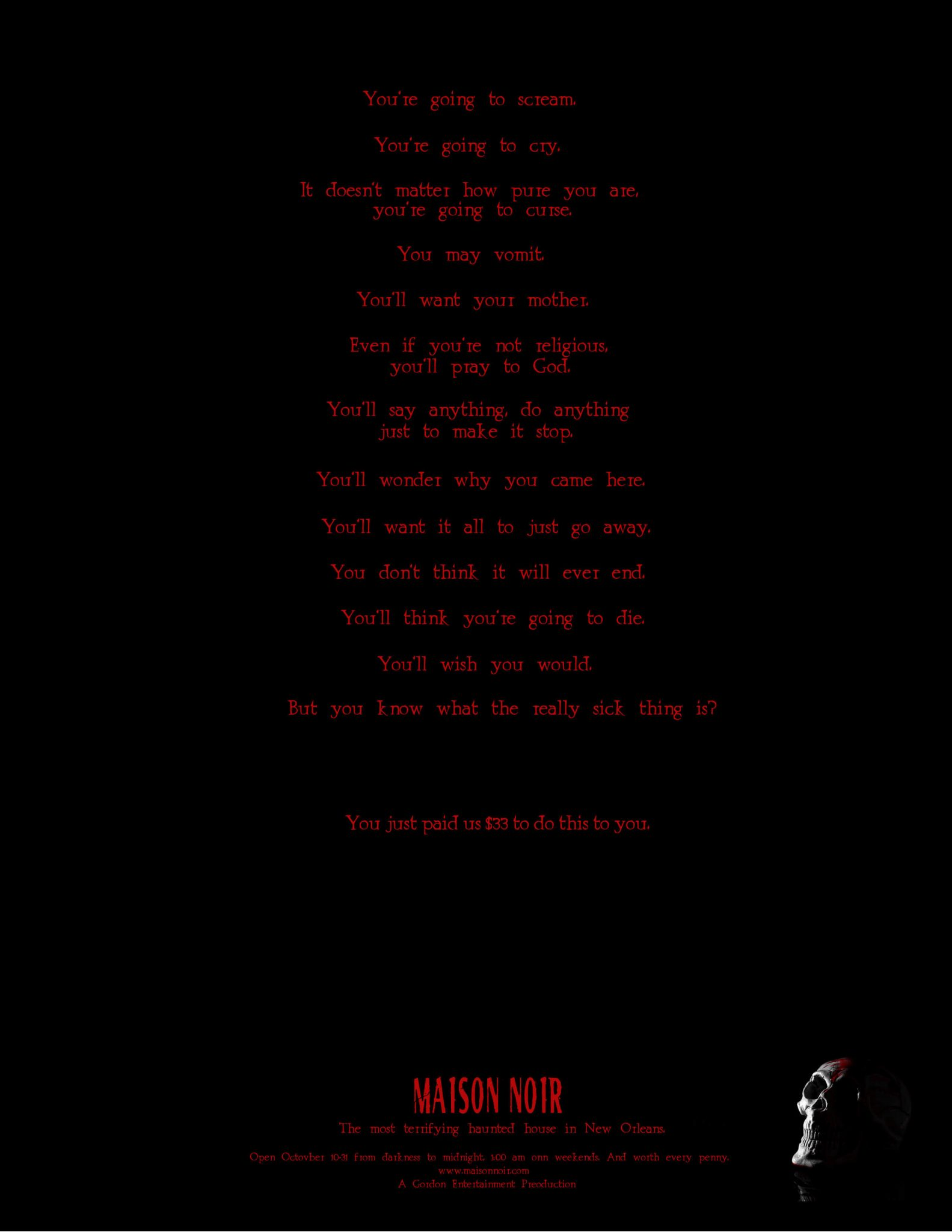 Haunted House ad with red type on black background and a human skull in the bottom right corner (small)