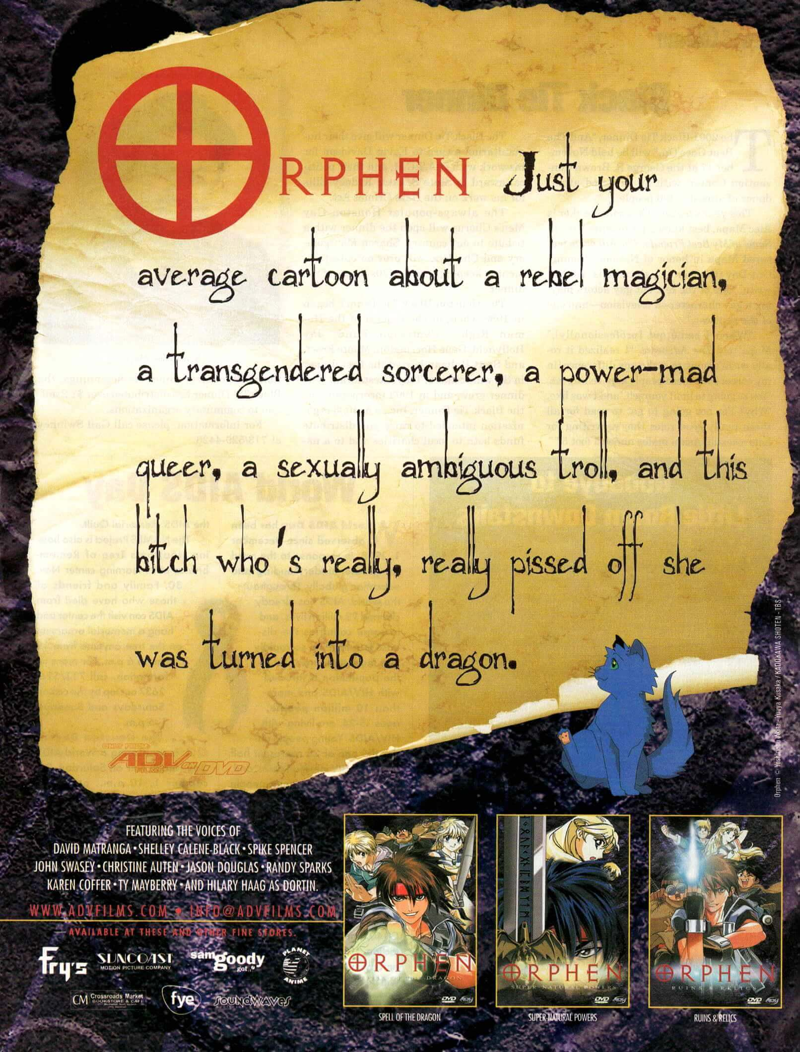 "Ad for the anime Orphen with a funny headline ""about this bitch who's really really pissed off she's a dragon"" written on an ancient scroll, with three DVD box covers below (small)"