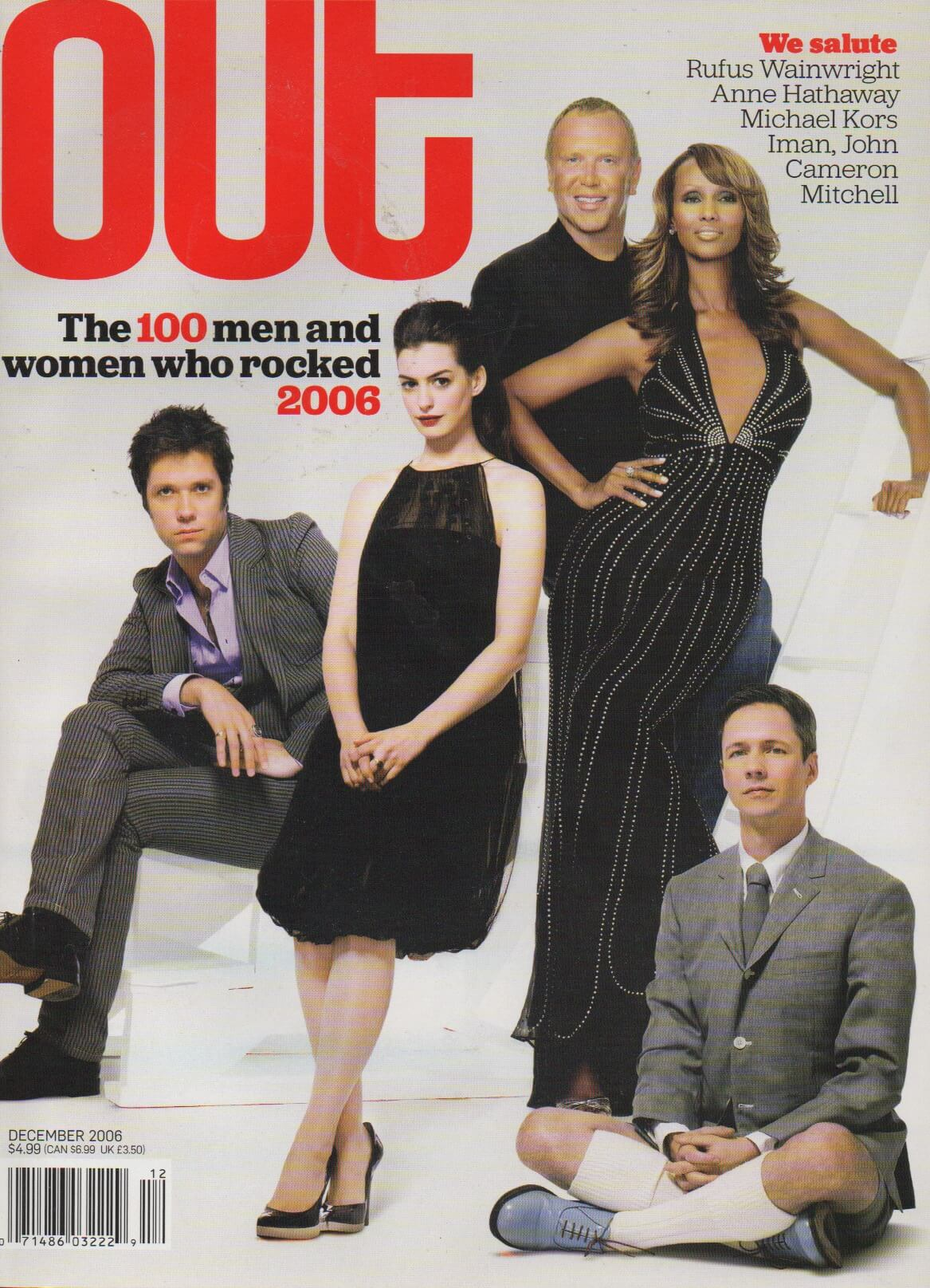 Out Magazine cover 2005 Hot List Issue (featuring Rufus Wainwright, Anne Hathaway, Michael Kors, Iman, and John Cameron MItchell)