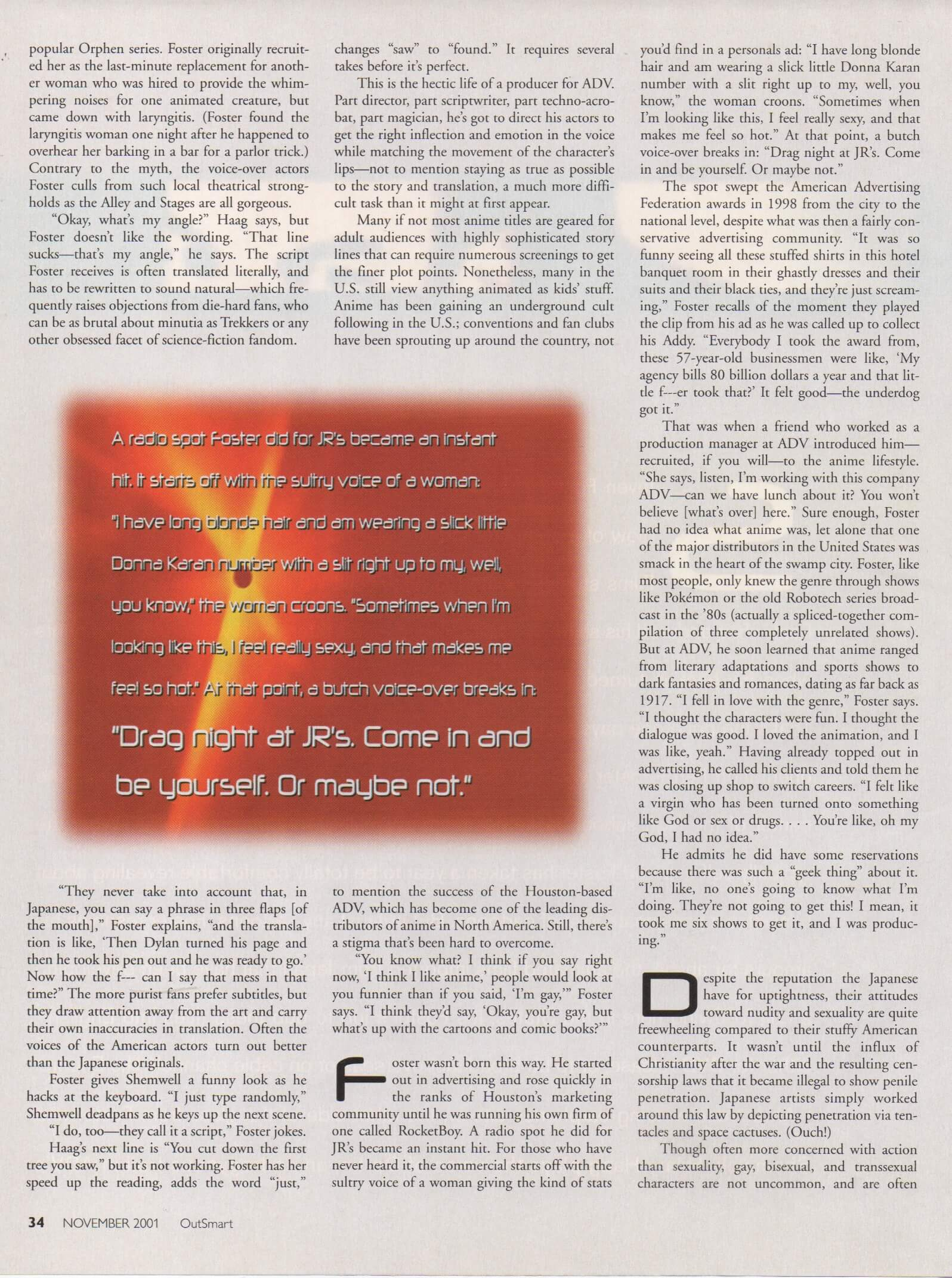 """Page 3 of the OutSmart Magazine interior of the Ste7en Foster article """"Sleeping With The Anime"""""""