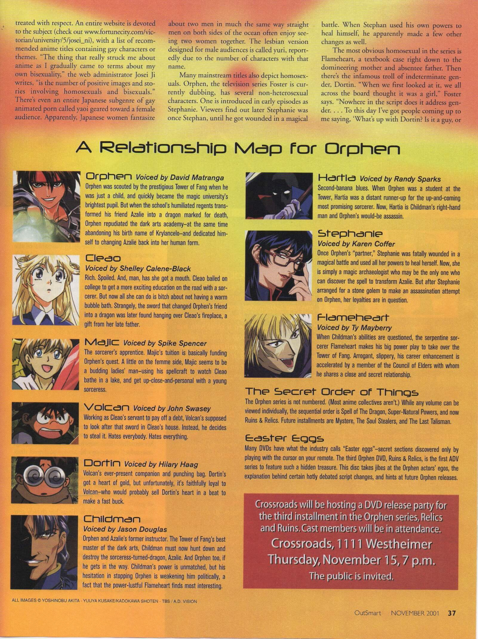 """Page 4 of the OutSmart article """"Sleeping With The Anime"""" with images of the anime characters with the voice actors portraying them"""