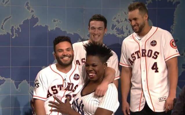 Astros George Springer Jose Altuve and Alex Bregman with Leslie Jones on Saturday Night Live