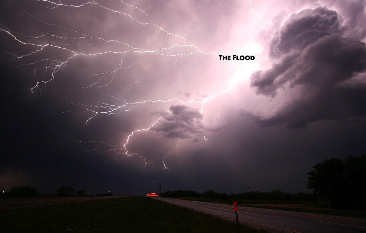 purple thunderstorm clouds and lightning with the nuff said essay title the flood